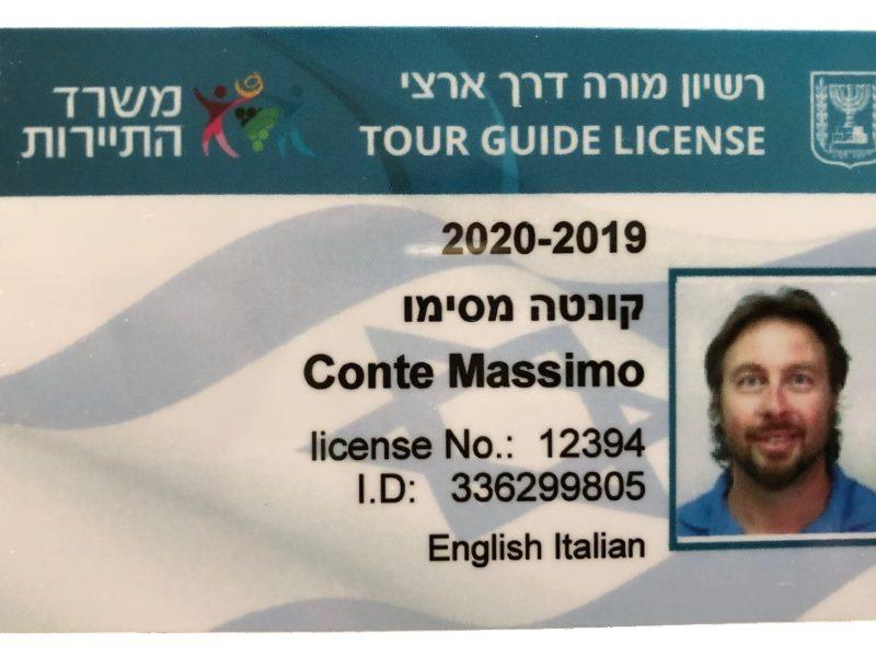 Guida Turistica in Israele TOUR GUIDE LICENSE ISRAELE MASSIMO CONTE 2019-2020